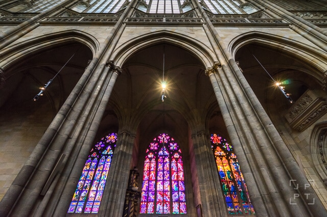 Windows and arches inside St. Vitus Cathedral