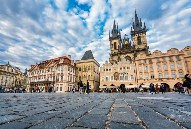 Low angle view of Týn Church in Prague