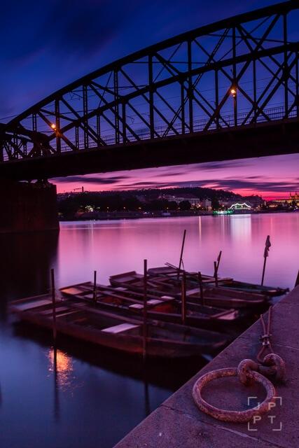 Railway bridge in Prague at sunset