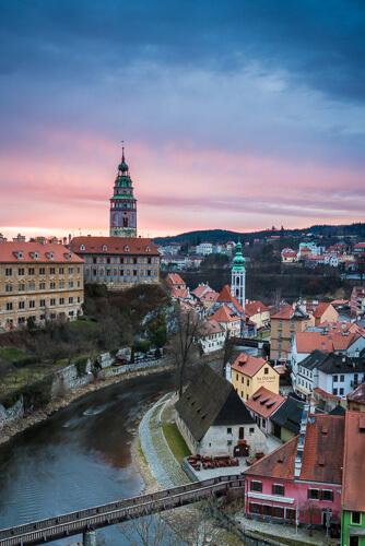 Chateau Český Krumlov at sunrise
