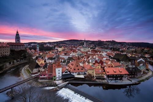 Český Krumlov at sunrise