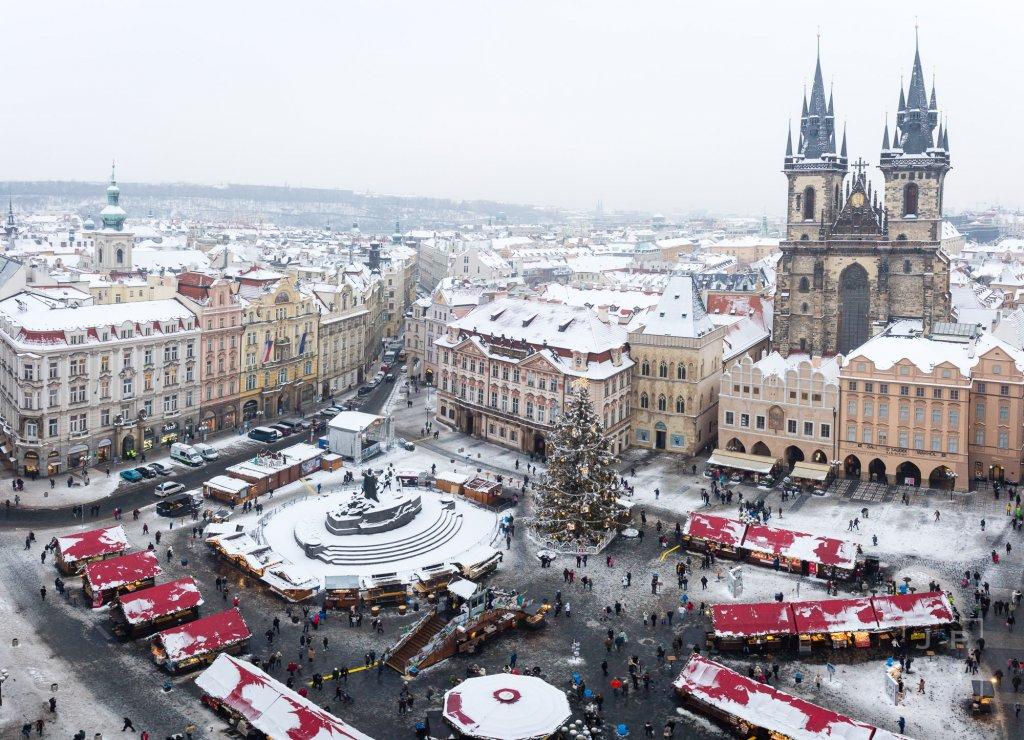 Old Town Square in Prague in winter