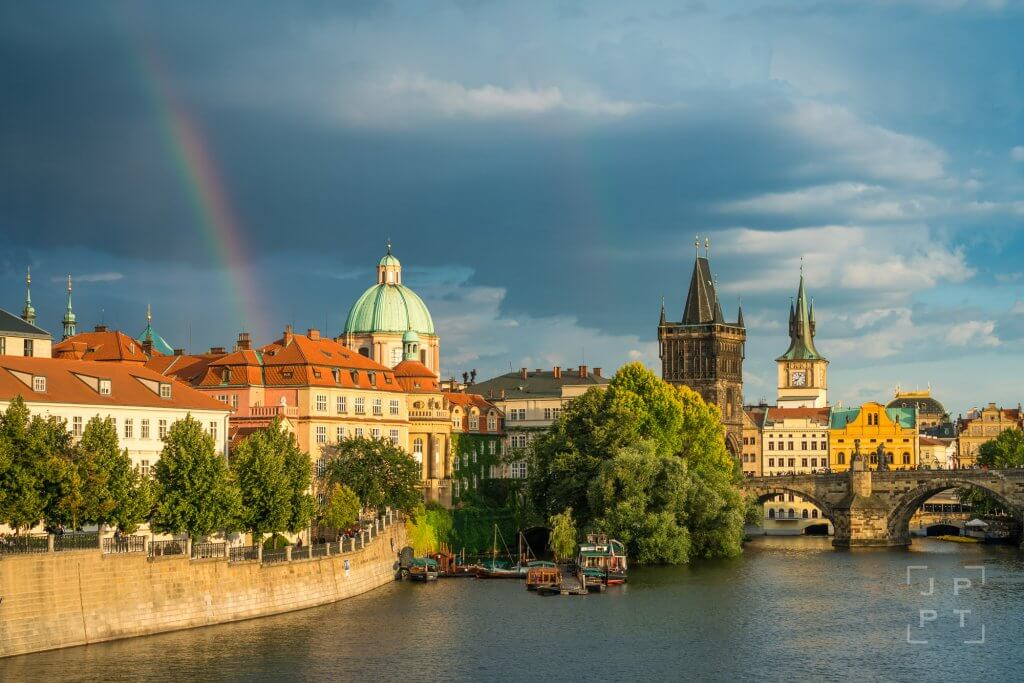 Rainbow by Charles bridge in Prague