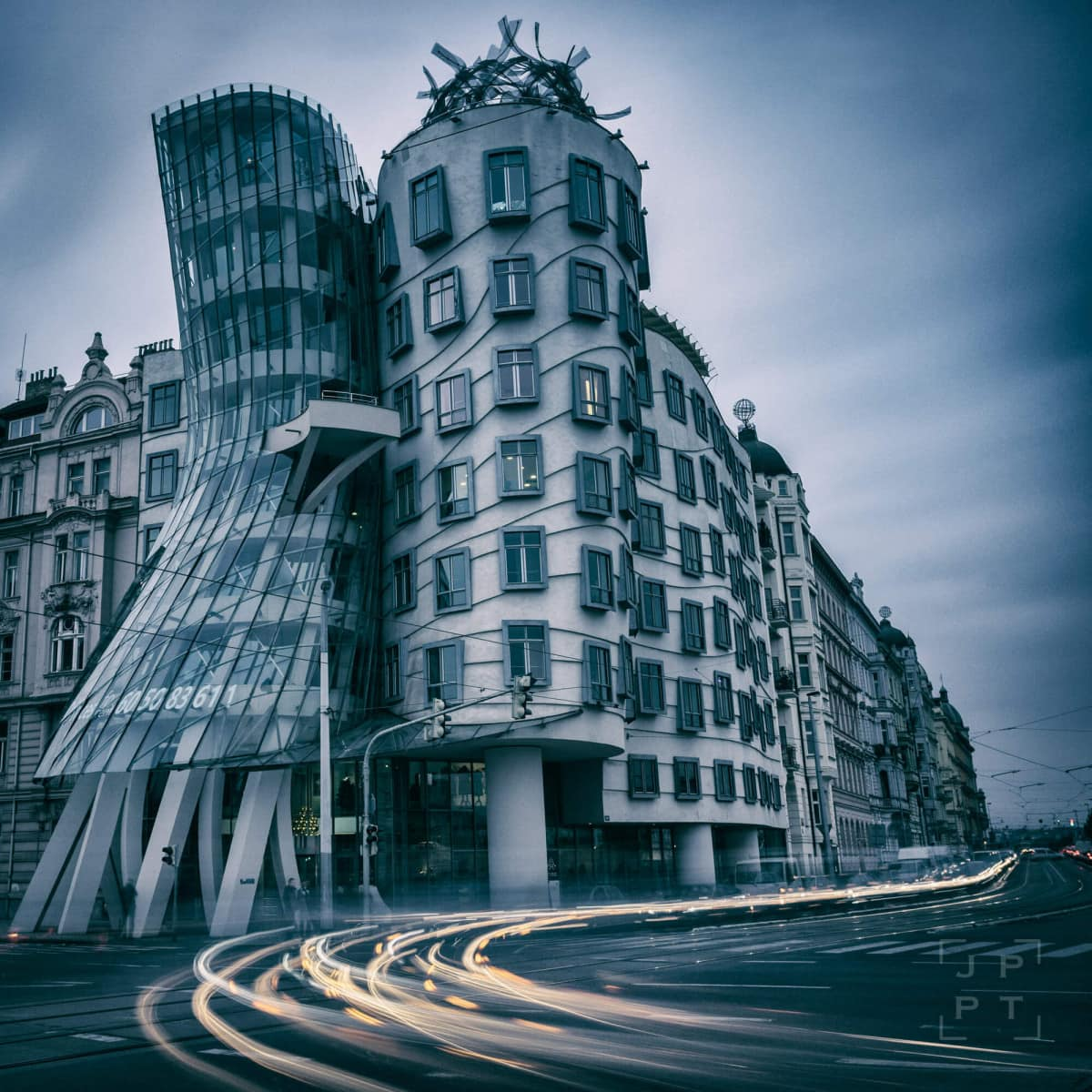 Dancing house at dusk