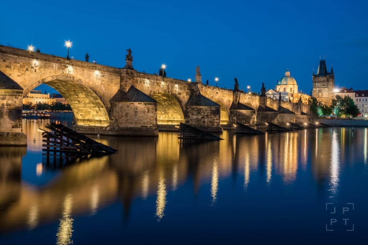 Illuminated Charles Bridge at night, Prague