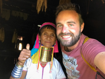 Jan Miřacký with women from Kayan tribe, Myanmar