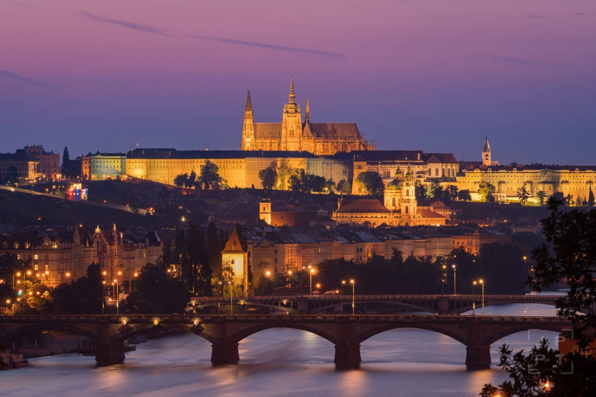 Prague castle and Vltava river at sunset