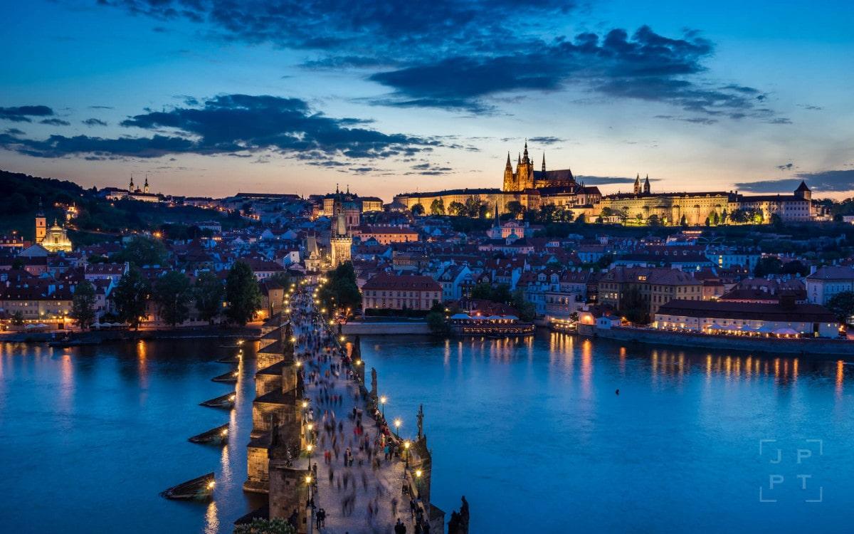 Prague skyline with Charles bridge and Prague castle